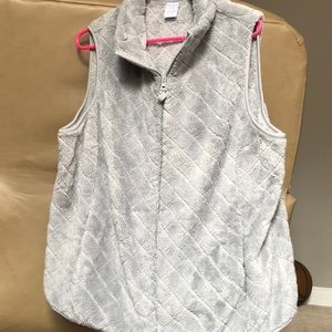 Fuzzy gray vest